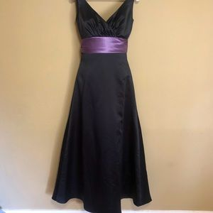 Black Full A-Line Dress with Purple Band at Waist